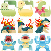 PokeMonster Hunter Gen 2 Starters by Gryphon-Shifter