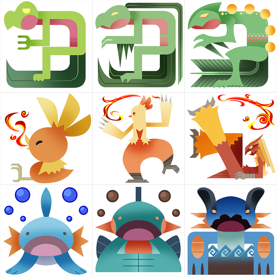 Pokemonster hunter gen 3 starters by gryphon shifter on deviantart pokemonster hunter gen 3 starters by gryphon shifter sciox Image collections
