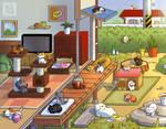 Neko Atsume Playful Days Prints Available by Gryphon-Shifter