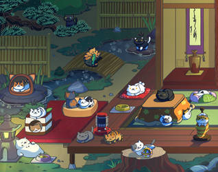 Neko Atsume Peaceful Nights Prints Available by Gryphon-Shifter