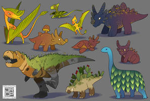 Plant Dinos by Gryphon-Shifter