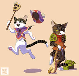 Palico and Prowler by Gryphon-Shifter