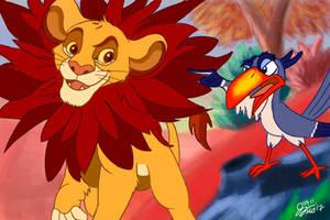 Simba and Zazu by JaJello