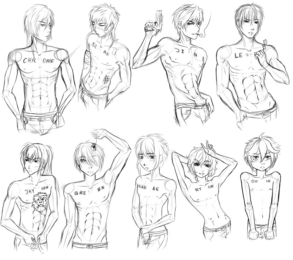TXC: male anatomy sketch practice 1 by Tiny-Midget on DeviantArt
