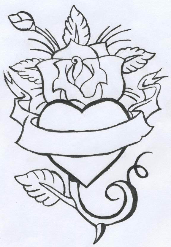 Heart And Rose Love Drawings rose tattoo by ...