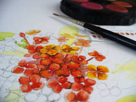 Watercolor - red bouquet - wip by barananduen