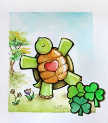 Watercolor - Happy Turtle