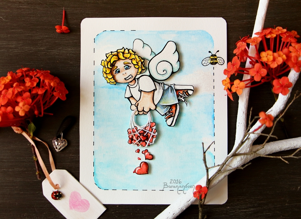 Watercolor - Julian Playing Cupid ... and Failing! by barananduen