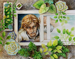 Watercolor - BLEACH - Shinji Hirako and the Plants by barananduen