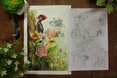 Watercolor - DA's 17th BDay - Side by Side