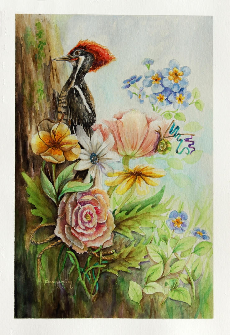 Watercolor - DA's 17th BDay - Flowery Woodpecker by barananduen