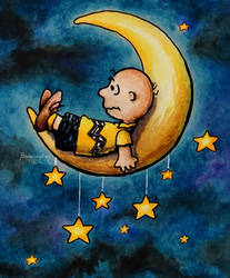 Watercolor - Fanart Mashup - Charlie Brown on Moon by barananduen