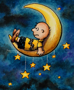 Watercolor - Fanart Mashup - Charlie Brown on Moon