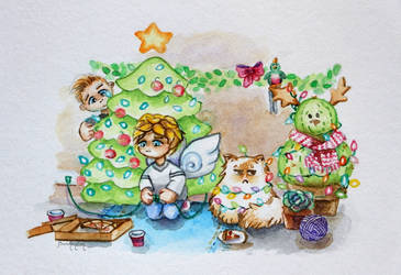 Watercolor - Merry Christmas from Ceb and Julian