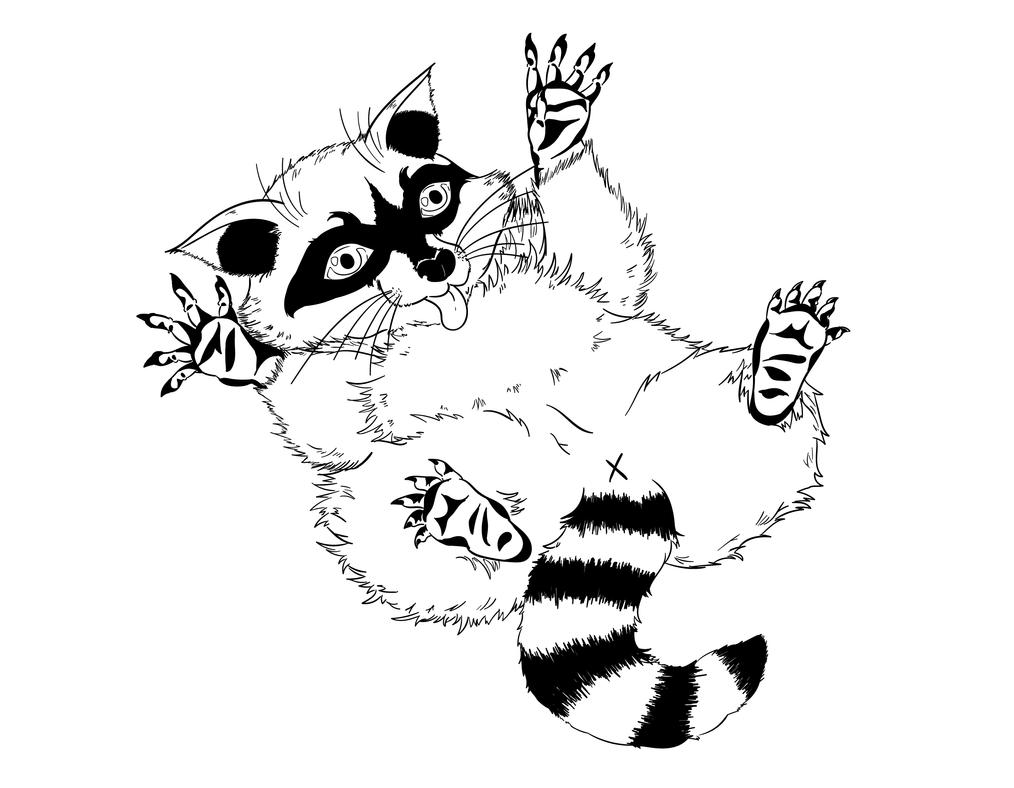 Line Drawing Raccoon : Raccoon assignment line art by lxsketch on deviantart
