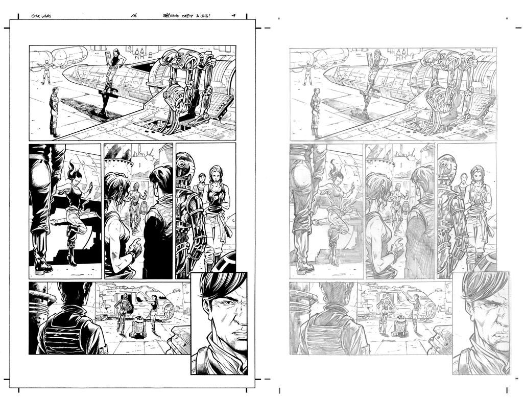 Star Wars 16 p 4 with pencils by JulienHB