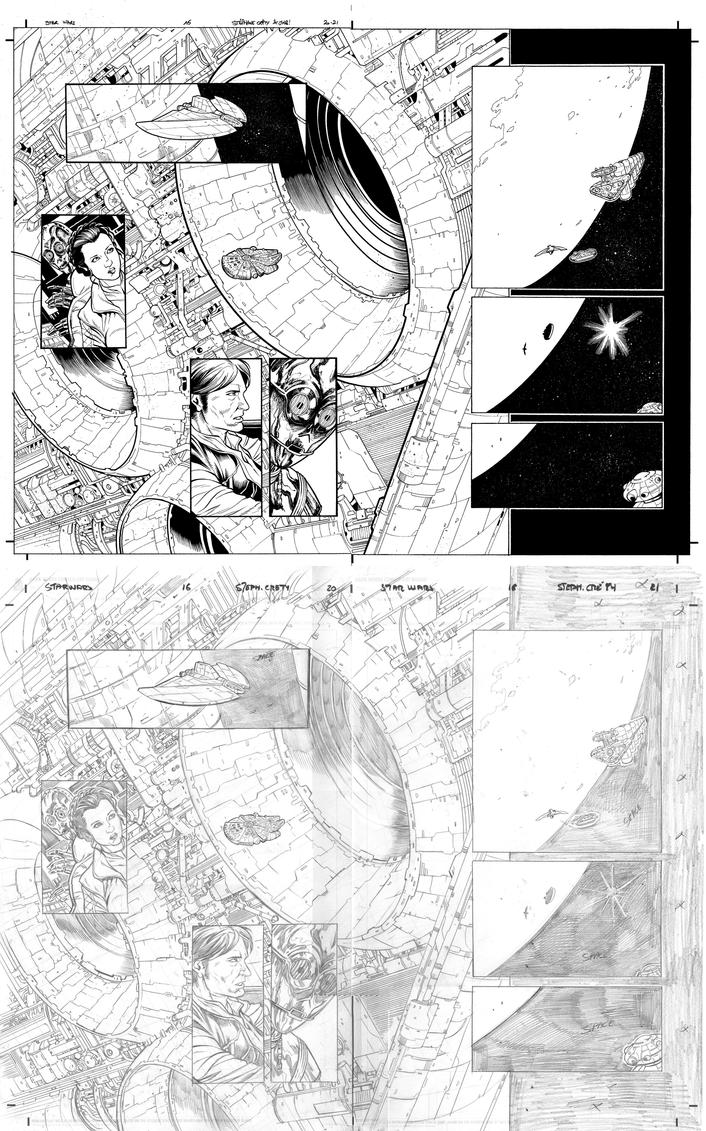 Star Wars 16 p 20-21 with pencils by JulienHB