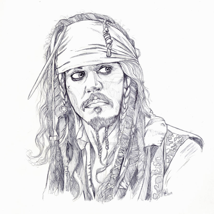 jack sparrow line drawing