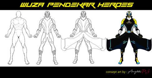 Sketch drawing WUZA (Pendekar Heroes) LegitZEN by DUTAfilms