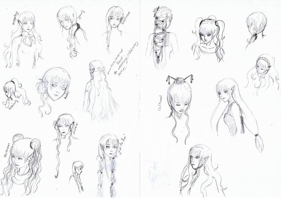 Eletha Hair Sketch Dump by Yunaleska1