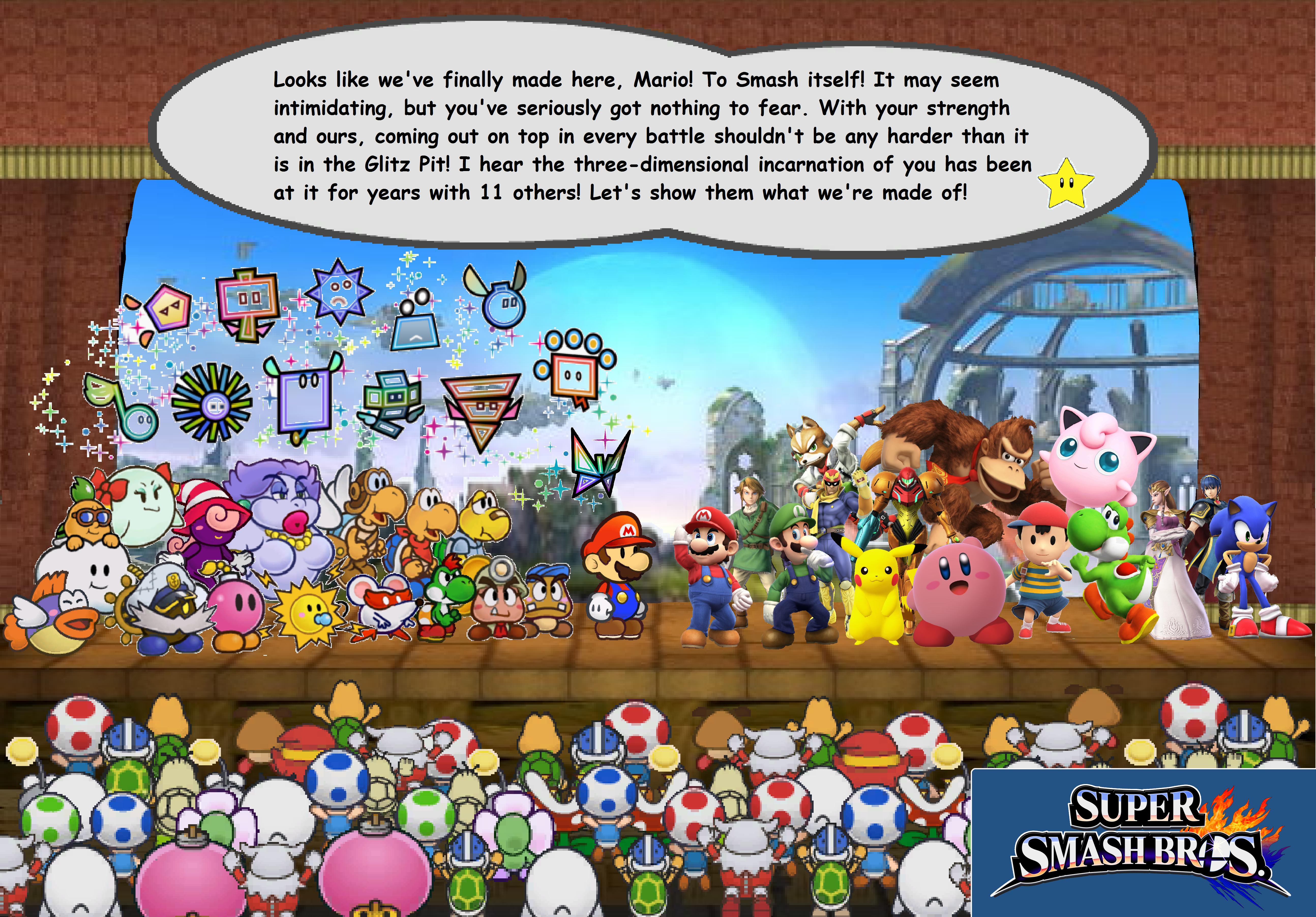 Paper Mario Flips into Battle!! Super Smash Bros  by