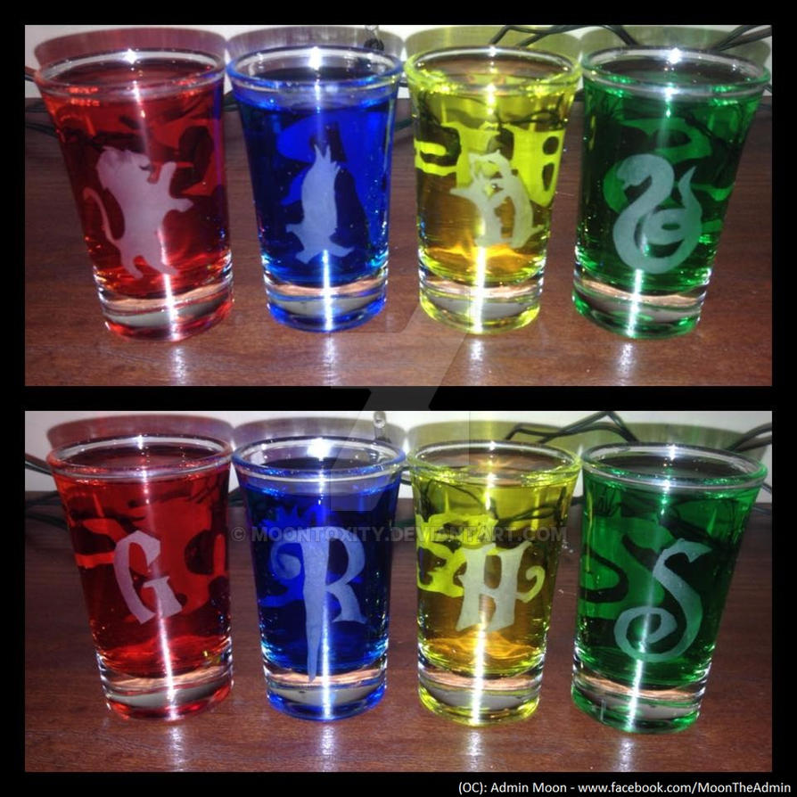 Two Sided Harry Potter House Shot Glasses By Moontoxity On