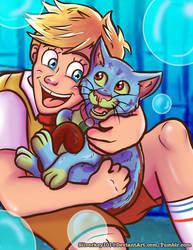 Boy Spongebob and cat Gary