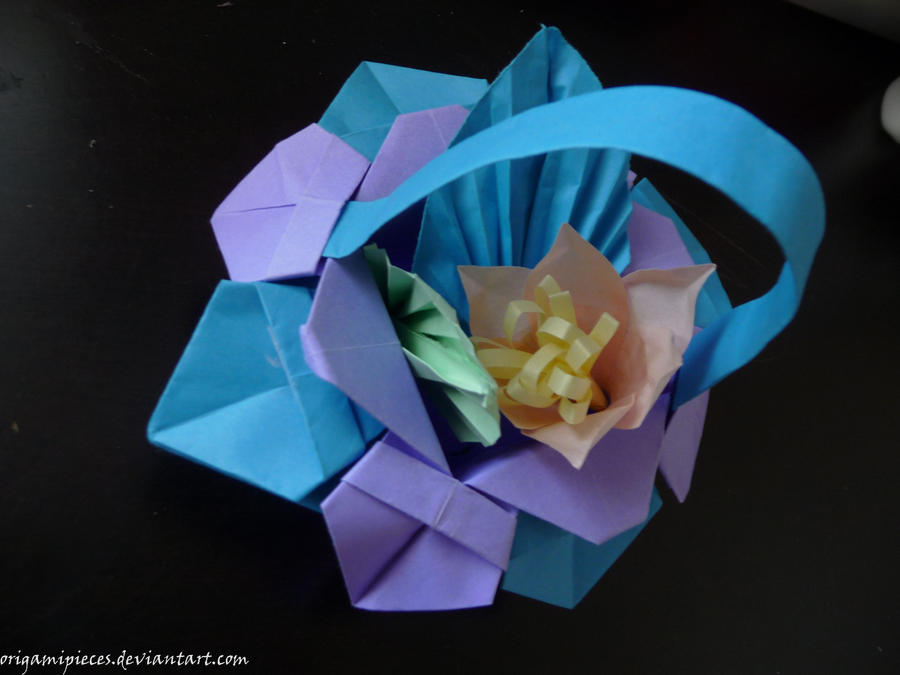 Origami flower basket by origamipieces on deviantart origami flower basket by origamipieces mightylinksfo