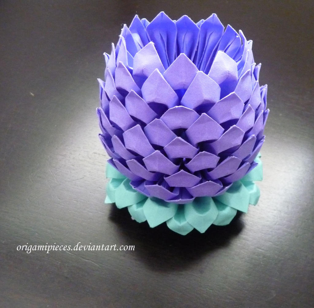 3d origami lotus by origamipieces on deviantart for How to make a lotus with paper