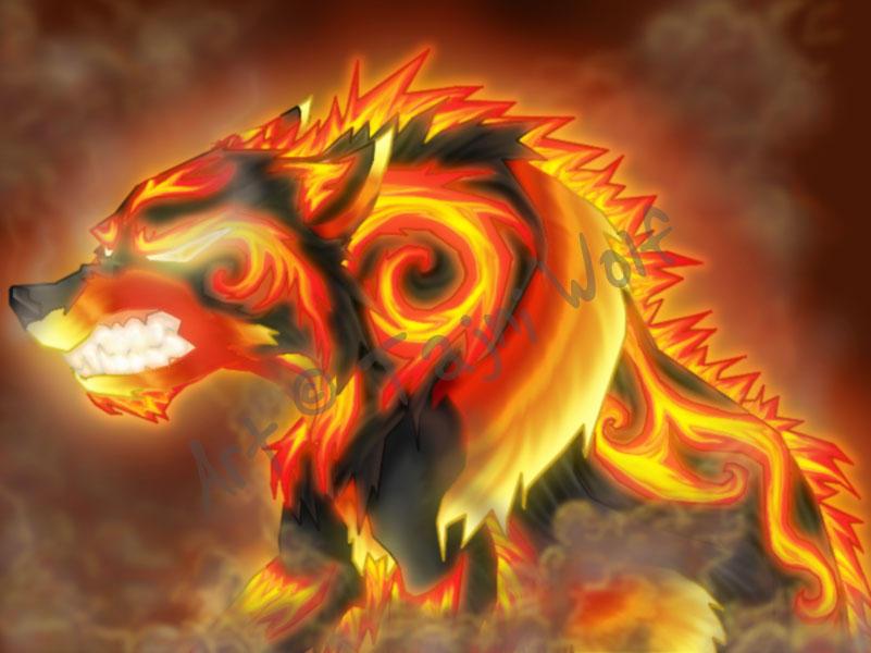Orange Wolf Drawing Fire Wolf by tajniwolf