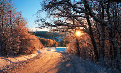 -Morning road to village-