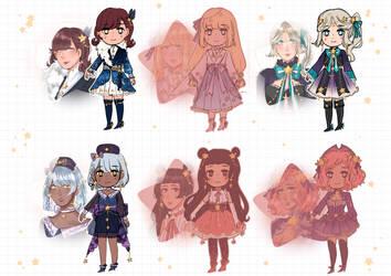 :: OPEN :: Set-Price Adoptables :: Star Girls by Aka-Ai