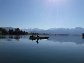 Lake, mountains and a lady by Learning-by-doing
