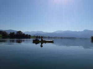 Lake, mountains and a lady