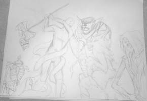 WIP ::: Manly Monsterous Half-Orc Showdown! by InsomniaDoodles