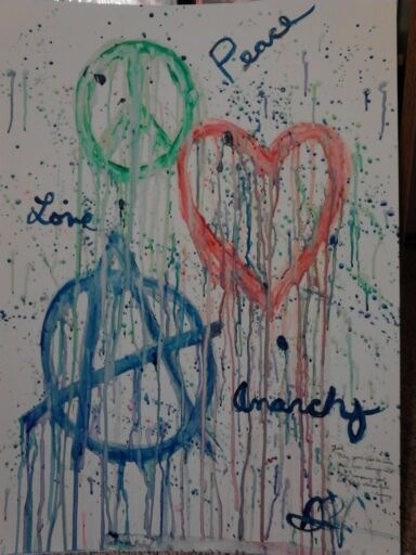 Peace, love, and anarchy modern art gift by CrypticGrin