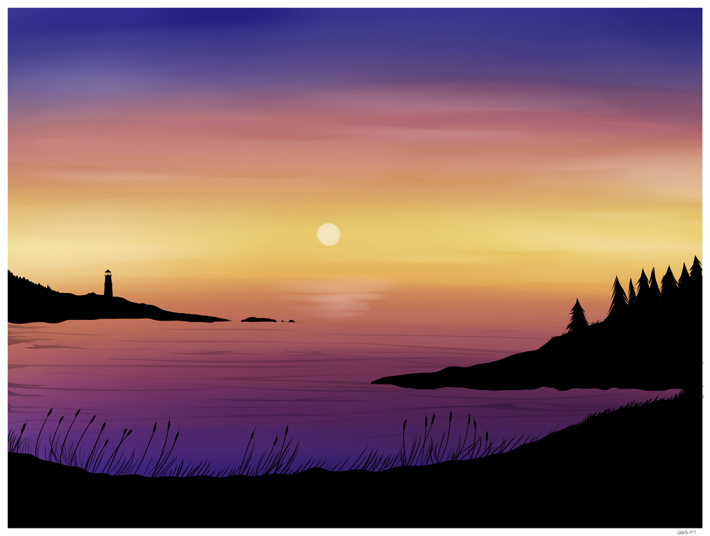 Digital Watercolor Sunset By InsomniaDoodles