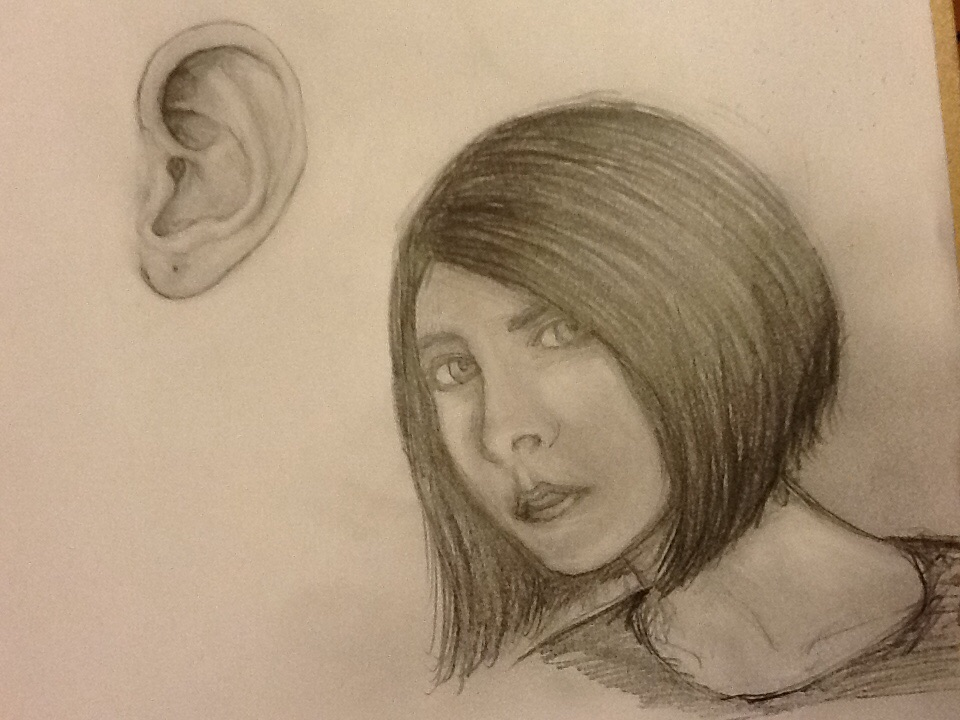 Ear and 3/4 profile face study by CrypticGrin