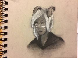 Teifling sorcerer charcoal sketch