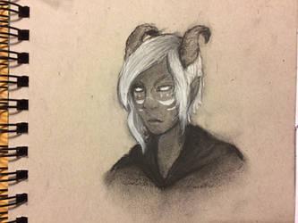 Teifling sorcerer charcoal sketch by InsomniaDoodles