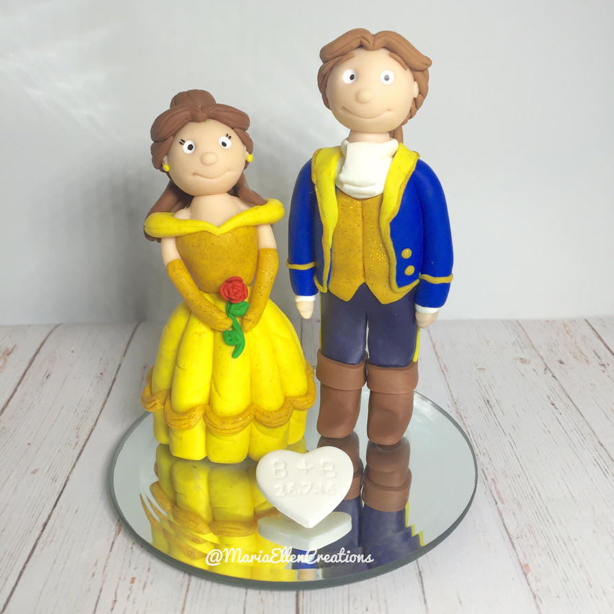 Disney\'s Beauty and the Beast wedding cake topper by ...