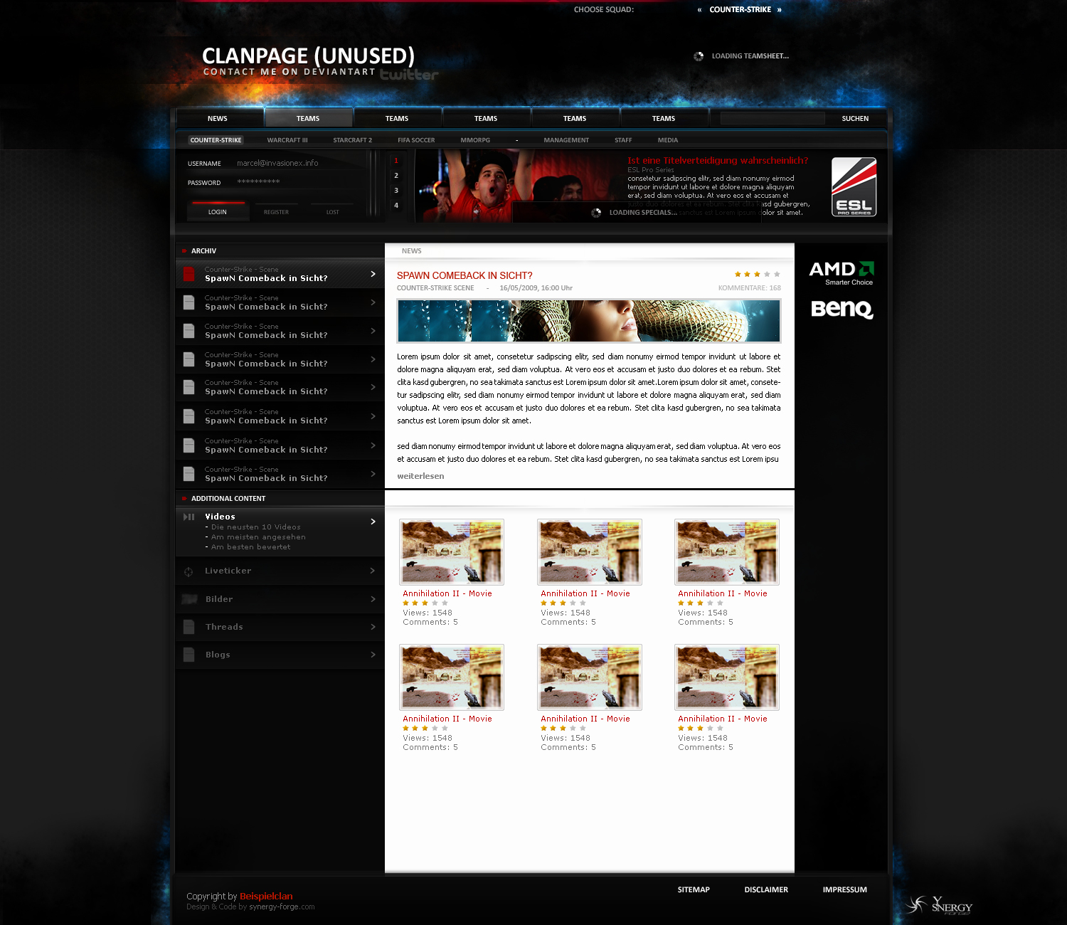 eSport Website 4 sale by overcrock