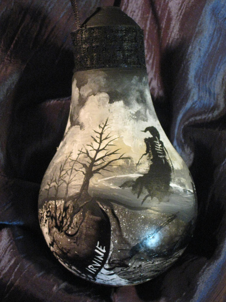 Gothic Painted Lightbulb Ornament By The Gnarled Branch On