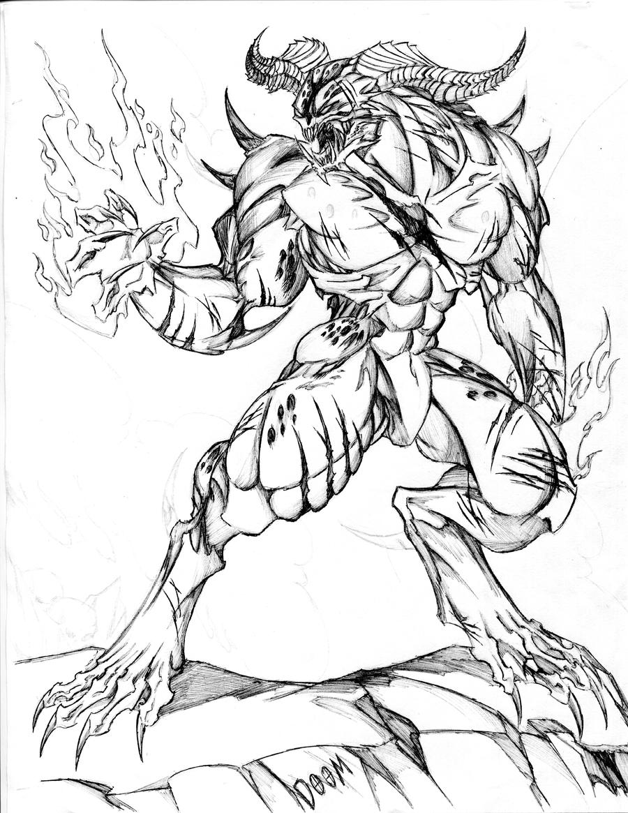 Devil Face Line Drawing : Baron of hell remastered doom by winddragon on deviantart