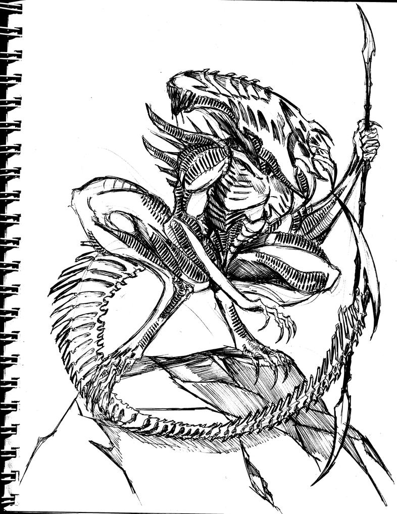 Sketor xenomorph by winddragon24 on deviantart for Xenomorph coloring pages