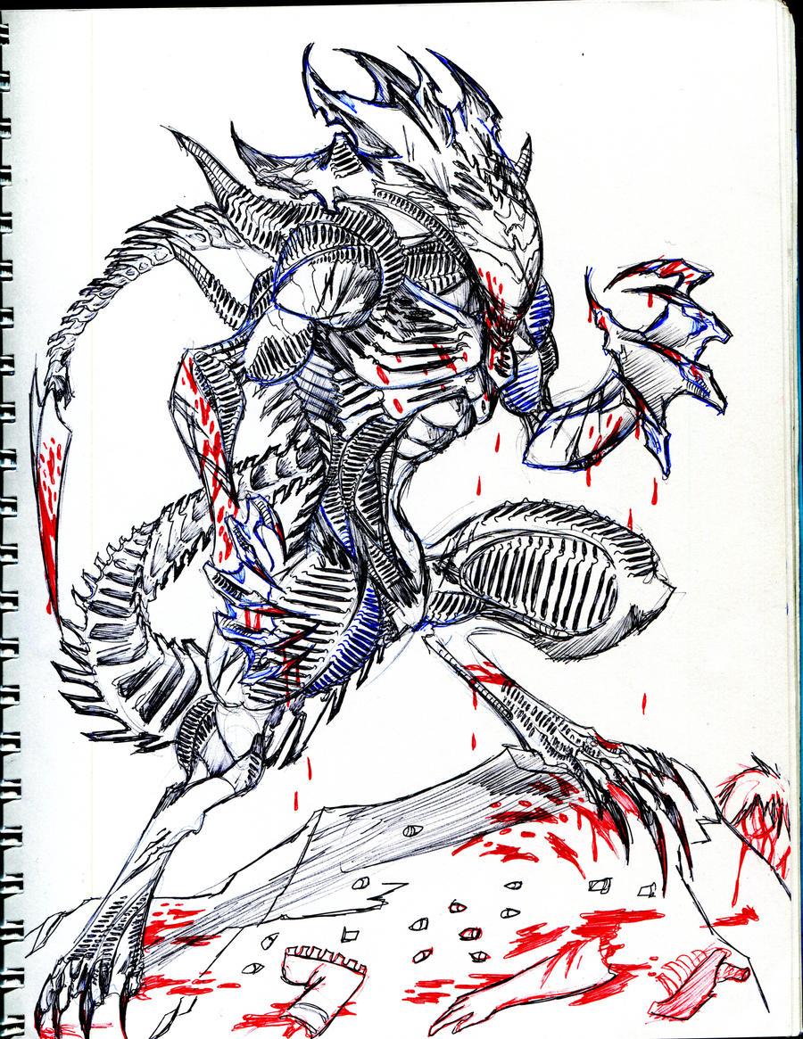 Sketor xenomorph blood by winddragon24 on deviantart Xenomorph coloring book