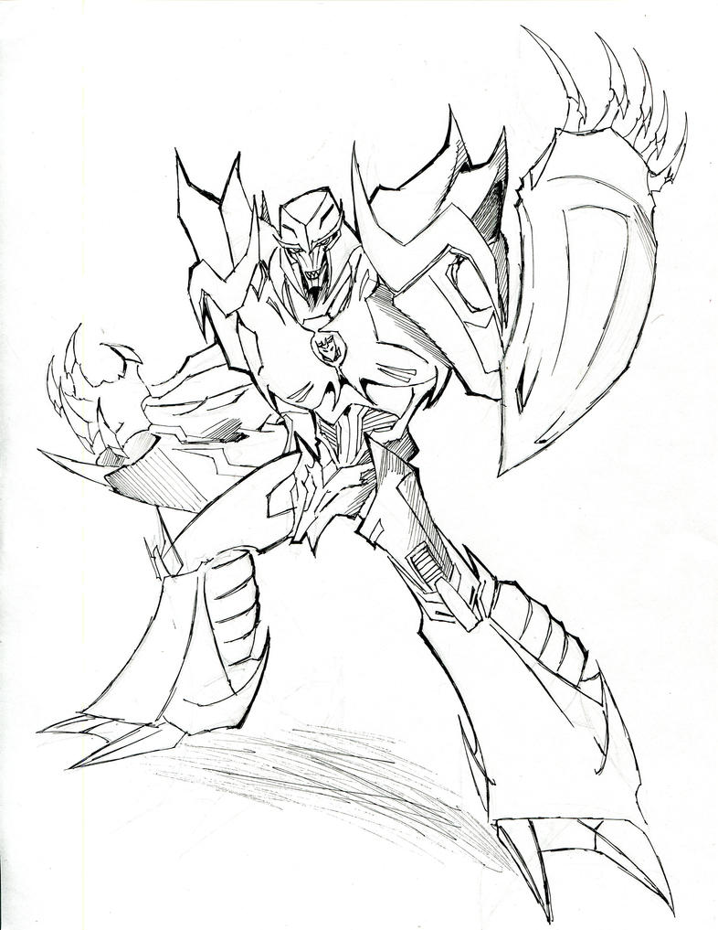 Megatron line art by winddragon24 on deviantart for Transformers coloring pages megatron