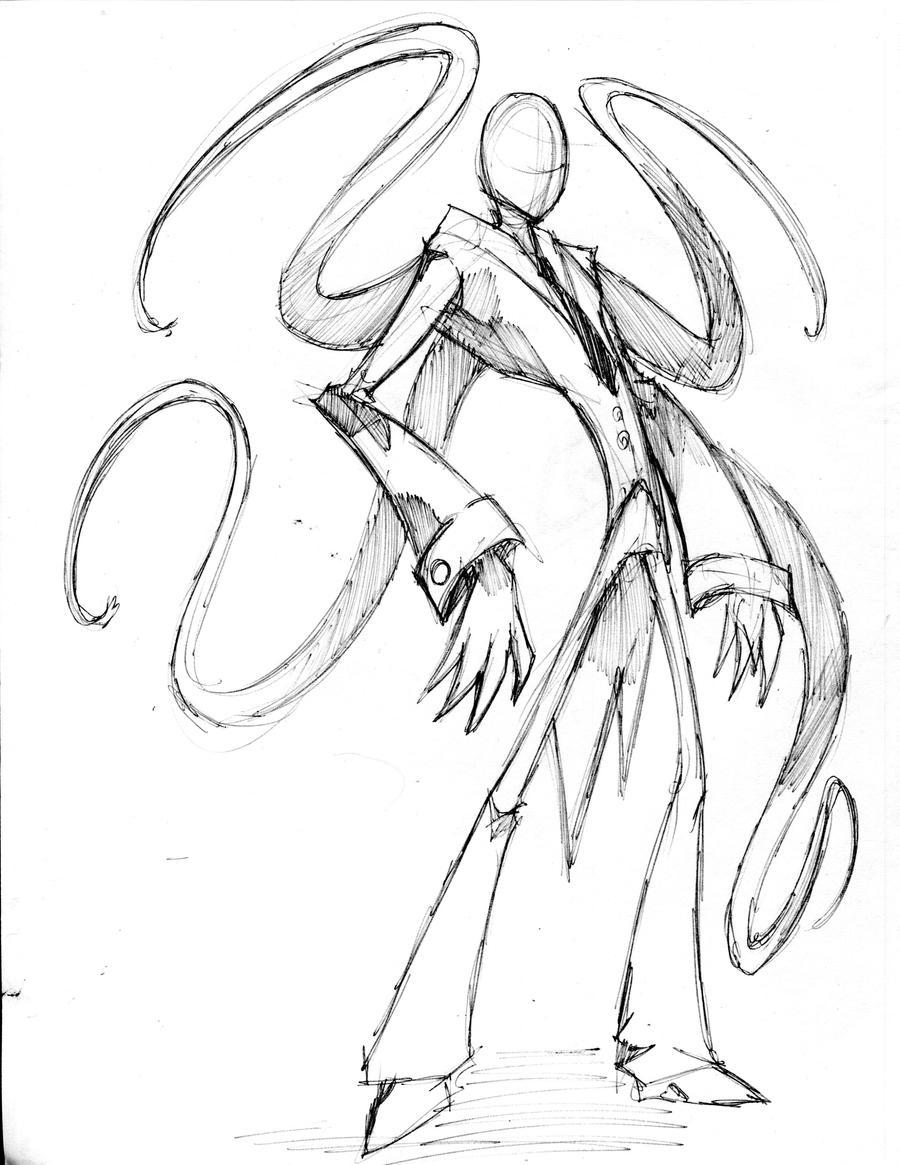 Slenderman sketch drawing by winddragon24 on deviantart for Slender man coloring pages
