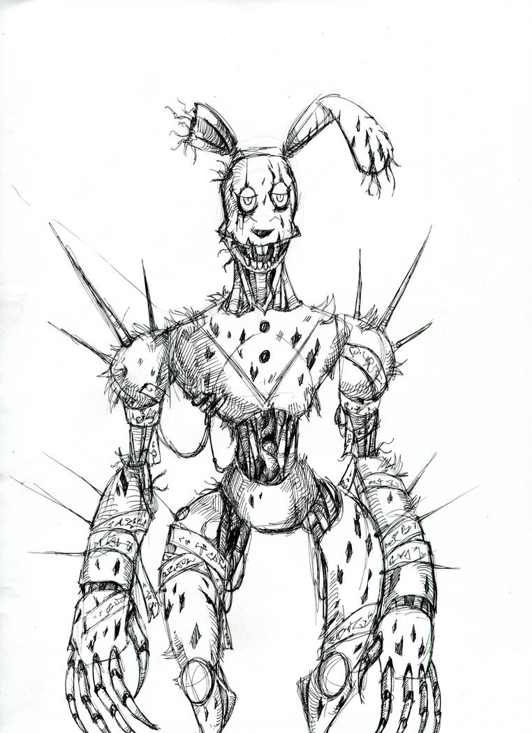 Cyberpunk springtrap by winddragon24 on deviantart for Fnaf coloring pages springtrap
