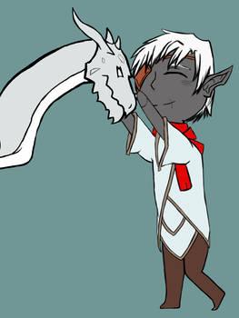 Nathaere Hugs a SIlver Dragon